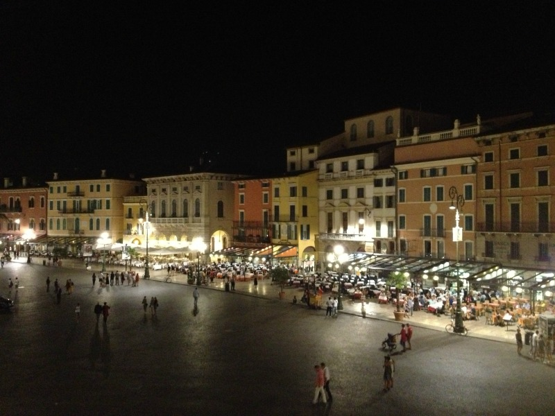 View of Piazza Bra from Verona Arena
