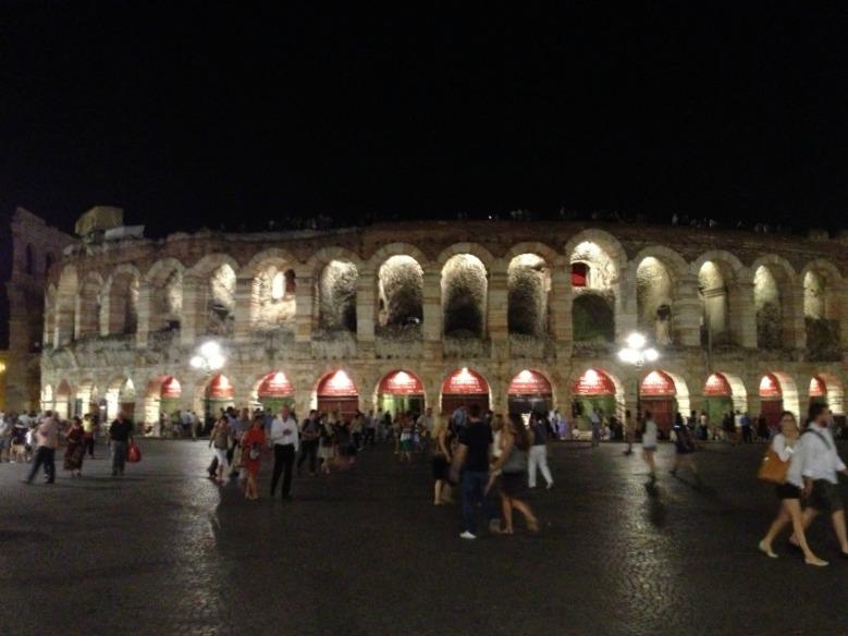 Verona Arena at night