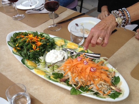 Delicious salad at organic farm in Tuscany