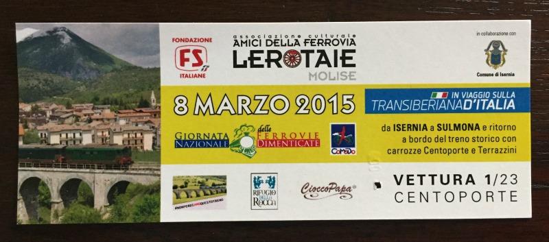 Train ticket | Transiberiana d'Italia - Ride on a historic train