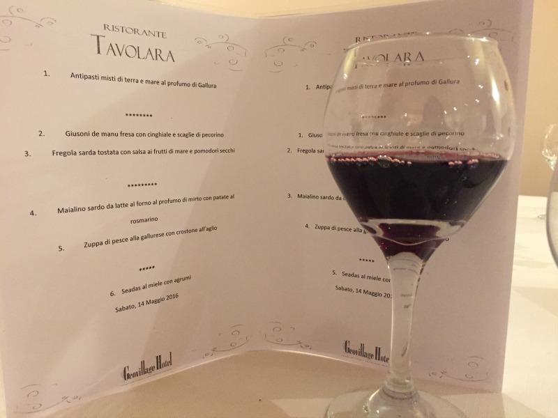 Dinner menu at Tavolara Restaurant in Geo Village, Olbia, Sardinia | BrowsingItaly.com
