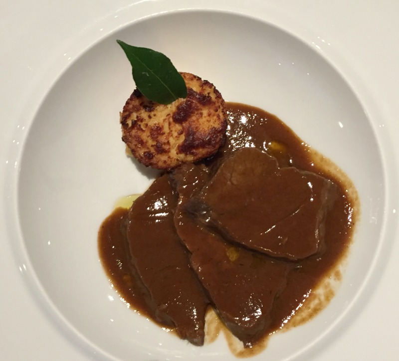 Braised beef cheek at La Limonaia restaurant at Villa Acquaviva in Maremma, Tuscany | BrowsingItaly.com
