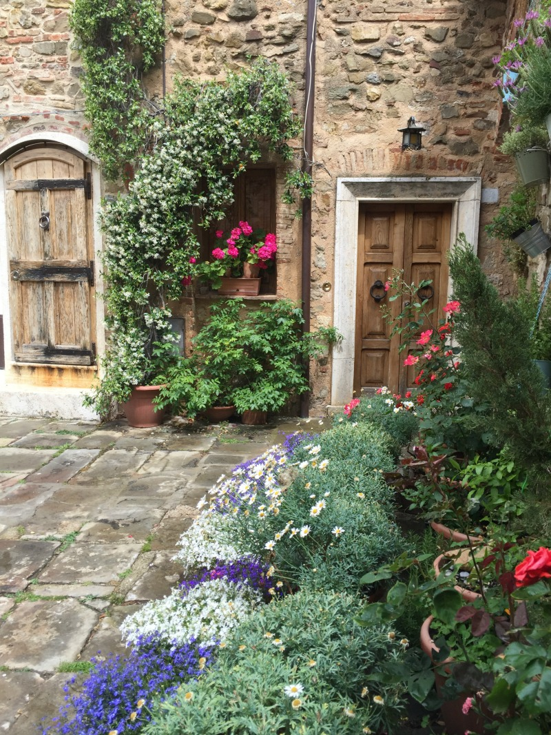 Flowers outside homes in Montemerano | Maremma, Tuscany | BrowsingItaly.com