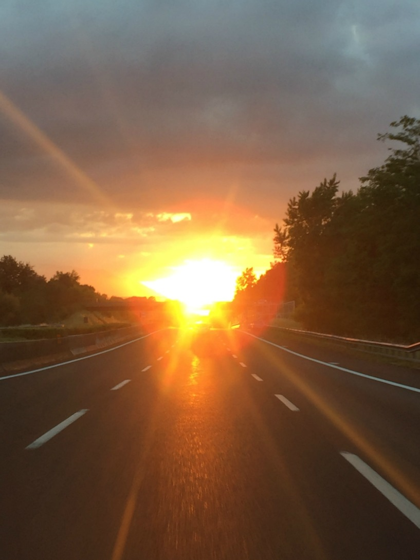 Sunset in Rome while driving back from Positano | BrowsingItaly.com