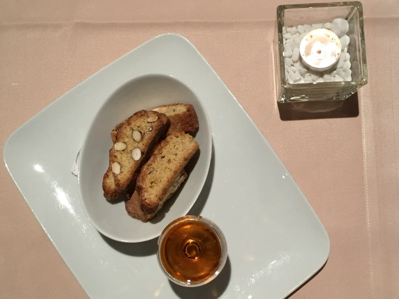 Vin Santo and cantuccini for dessert at La Limonaia restaurant at Villa Acquaviva in Maremma, Tuscany | BrowsingItaly.com