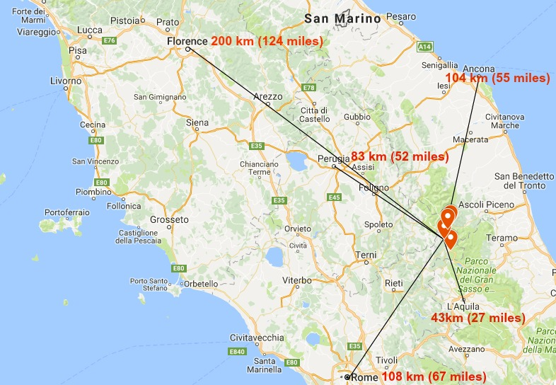 Areas in Italy affected by the earthquake: Distance to cities