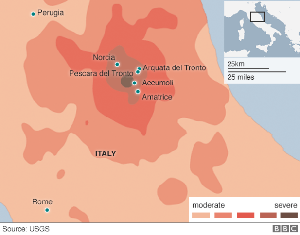 BBC News: map of areas in Italy affected by the earthquake