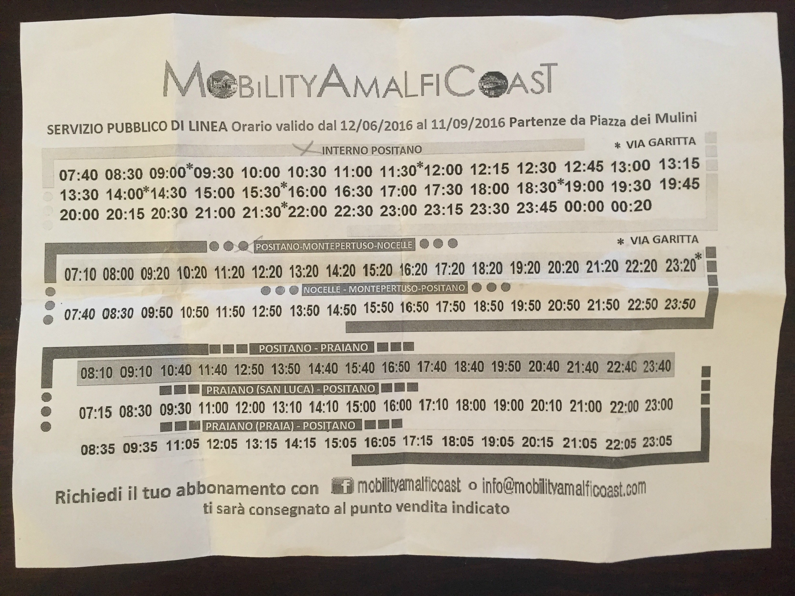 Bus schedule for within Positano as well as Nocelle | Amalfi Coast | BrowsingItaly.com