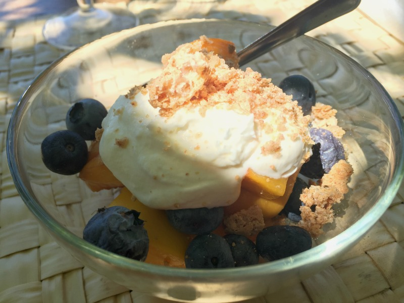 Light and refreshing dessert: Peaches, blueberries, cream and crushed amaretti at Chianti Cashmere Goat Farm | Slow Travel in Tuscany with Km Zero Tours |BrowsingItaly.com