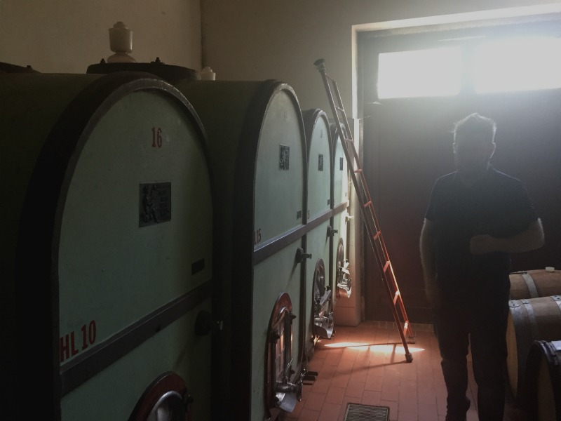 Cement vats used instead of steel vats for red wine production in Tuscany | Slow Travel in Tuscany with Km Zero Tours | BrowsingItaly.com