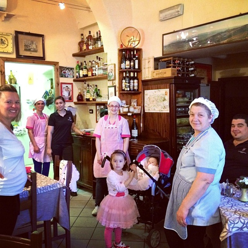 Castelli family that runs Trattoria Dardano in Cortona, Tuscany