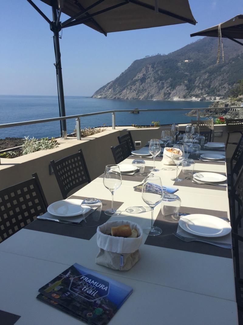 Terrace of L'Agave restaurant in Framura, Liguria