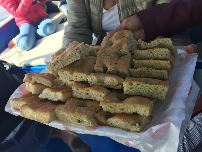 Local typical snacks on Rosa dei Venti in Levanto, Liguria